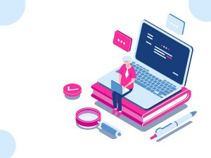 Online education isometric concept, laptop on book, internet course for learning on home, young man working on pc, cartoon flat vector